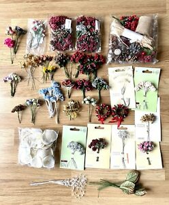 Job lot Paper Flower Bunches,Roses,Pearls, Christmas Berry Wired Stems and More