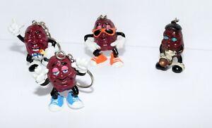 Vintage 1987-88 California Raisins Lot of 4 Key Rings Figures by Calrab Applause