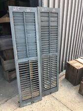 Great pair vintage victorian louver house shutters blue green 62.5 x 16 x 1 1/8B