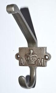 PACK OF 5 CAST ANTIQUE IRON 2 PART COAT HOOKS with A&M PLAQUE 110mm Reproduction