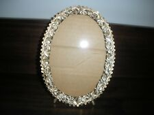 vintage filigree metal oval picture frame gold ivory footed easel back table top