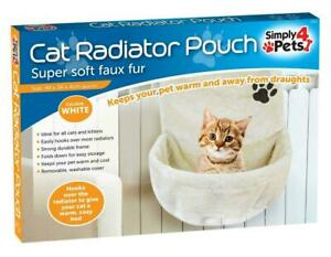 Soft Washable White Cat Bed Radiator Pouch Cat Hammock 47x45x40cm kitten Basket