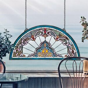 """32.5"""" Half Moon Victorian Style Stained Glass Window"""