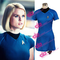 Star Trek Female Blue Uniform Halloween Cosplay Costume Dress with Badge Cos