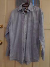 George Strait Wrangler Cowboy Cut Men's Med. checked shirt, Blue, long sleeve