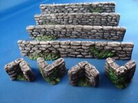 K6 Unpainted Stone Wall 10x for wargames scenery. WW2 28mm, wargame buildings.