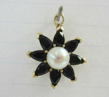 10KT Yellow Gold 7 Deep Blue Stone Pedal's with Large Pearl Center Charm