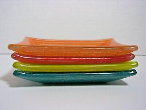 "4 Glass Tray/Dish Sm Serving Plates 4"" x 2 1/4"" Art Deco Yellow Red Orange Blue"