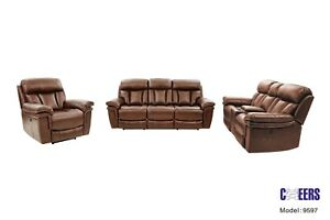 NEW 3PC TOP GRAIN LEATHER POWER LIVING ROOM SET  (SOFA, LOVESEAT AND RECLINER)