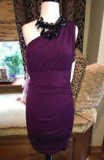 NWT Boston Proper One Shoulder All Over Ruched Sexy Dress 14 $129 Mulberry Plum