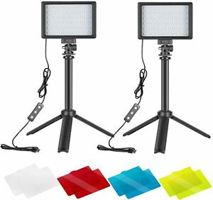Neewer Dimmable 5600K USB LED Video Light 2-Pack with Adjustable Tripod Stand an