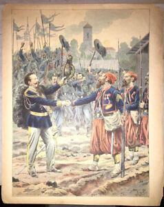 JOB. PLANCHE EN COULEURS pour LA PARTITION  DE LA MARCHE ROYALE ITALIENNE.1901.