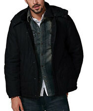 Men's Jacket Outwear Hooded Parka Coats #G1112, Black, US Size L