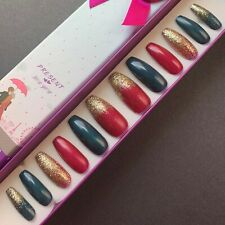 Hand Painted False Nails. XL Coffin (or any shape). Christmas Red, Green & Gold