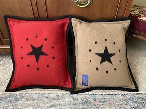 """Lot of 2 Red Tan Star Pendleton Wool Pillows  16"""" x 13"""" EUC STUNNING"""