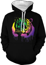 Tiger Spray Paint Dripping Cat Rainbow Colors Jungle Two Tone Hoodie Sweatshirt