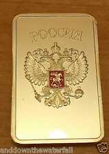 Russian Federation Gold Bar Ingot Hammer & Sickle Globe Emblem Badges Moscow PA
