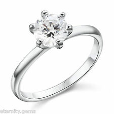 Hearts and Arrows 1 Carat NSCD Diamond Ring Sterling Silver Platinum Finish