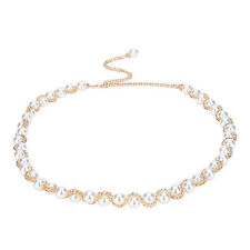 Women Belt Hip Waist Gold Metal Chains Big Pearl Beads Fashion  Size JXUK