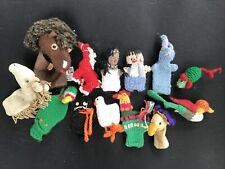 Finger Puppets 13 Hand Knit & Other Assorted Animals/Characters