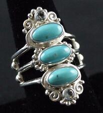 Sajen Gemstone.925 Sterling Silver Ring Size 8.5 Turquoise Topaz Adjustable