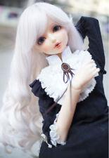 "7-8"" 1/4 BJD Snow White Curly Hair End Long Wig LUTS Doll SD DZ DOD MSD HUAL#"