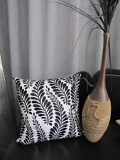 Beautiful LOMBOCK Black Ivory Leaf Stitched Detailing Quality Cushion Cover
