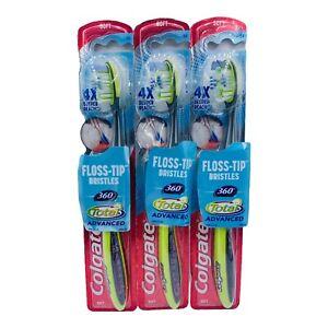 3x Colgate Toothbrush 360 Total Advanced Floss Tip Bristles Soft green