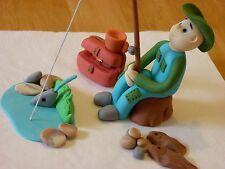 Fishing Fisherman Edible sugar paste decoration cake cupcake topper birthday