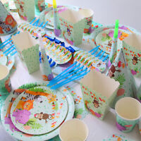 Kids Birthday Party Tableware Animal Disposable Plates Cups Napkin Supplies 55UK