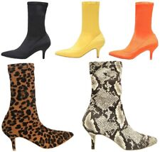 08d6e143092d 224-1 Elastic Stretchy Sock Ankle High Boots Booties Kitten Heel Pointed Toe