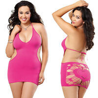 Plus Size Lingerie One Size Queen Fuchsia Mini Dress Chemise DG9119X
