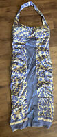 Nicole Miller Collection Halter Dress Size 2 Silk Spandex Blue And Tan