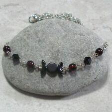 Triple Moon Pendant Necklace Jewelry Black Garnet Red