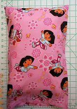 DORA and BOOTS flowers on pink - Small Pillow Case with Travel / Toddler Pillow