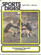 SPORTS DIGEST Jul 1974 NZ MAGAZINE RUGBY TOUR AUSTRALIA BARRY JOHN DAVE BROCKOFF