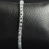 5x4 mm Oval Cut Gemstone Sterling 925 Silver Natural Aquamarine Tennis Bracelet