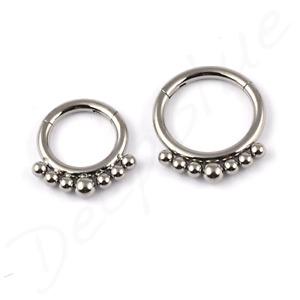 TITANIUM HINGED Micro FRONT MINI BALL Segment Ring Tragus Rook Daith Septum Ear
