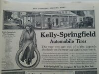 1912 Kelly Springfield automobile tires company smiling girl logo vintage ad