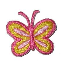 Pink & Yellow Butterfly Mini  Iron On Appliques x 10