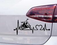 Motorrad Chopper Aufkleber Herz Schlag Auto Tuning Harley Davidson Sticker JDM