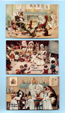 More details for 3 x 1937 original (unsigned) louis wain anthropomorphic cats' postcards (posted)