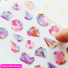 Kawaii Gilding Diamonds 3D Stickers, Crystal Gemstone Diamond Shape Deco Sticker
