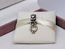 w/HINGE BOX  Pandora I Do Engagement Ring w/14Kt Diamond Charm 790999D Retired