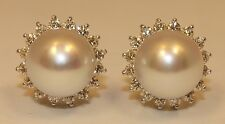 1ct VS1 G Color Round Cut Diamond & Culture Pearl 18K Solid White Gold Earrings
