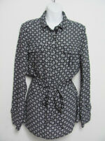White House Black Market Womens Blouse Shirt Belted Silk Black & White Size 10