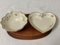 2 Small LENOX Manor Heart Bowls Candy Dishes Heart & Round Ivory -Pink Rosebuds