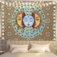 Psychedelic Bohemian Sun Moon Face Tapestry Mandala Wall Hanging Blankets Decor
