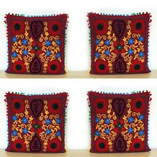 "Indian Handmade 4 Pcs Set Of 16"" Cushion Cover Sofa Decorate Suzani Embroidered"