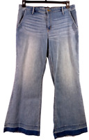 Mossimo blue denim spandex stretch washed off high rise wide leg jeans 18/34R